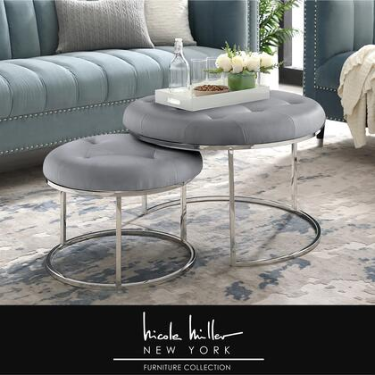 Aaden Collection NON106-01GR-AC Ottoman with Nesting  Stainless Steel Polished Base and PU Leather Upholstery in Grey and Chrome