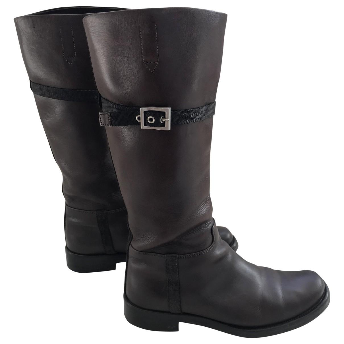 Prada \N Brown Leather Boots for Women 36.5 EU