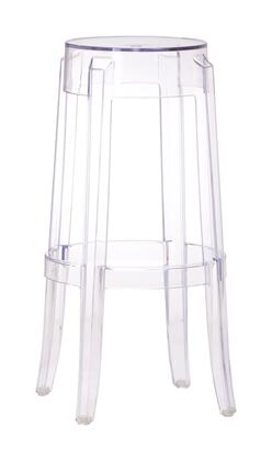 Anime Collection 106106 29.5 Backless Bar Stool with Foot Rest  Modern Style Polycarbonate Construction in Transparent