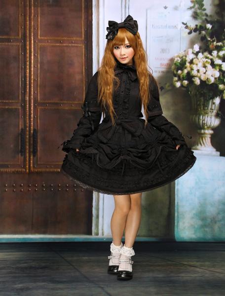 Milanoo Pure Black Cotton Lolita One-piece Dress Long Sleeves Lace Up Lace Trim Bows