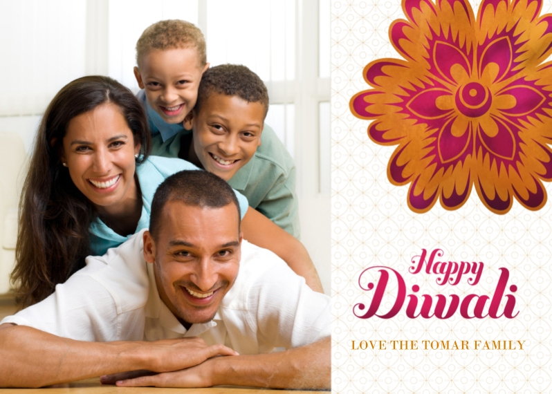 Diwali Cards 5x7 Cards, Premium Cardstock 120lb with Scalloped Corners, Card & Stationery -Diwali Orchid