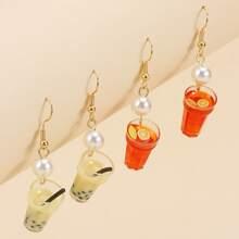 2pairs Faux Pearl Fruit Juice Drop Earrings