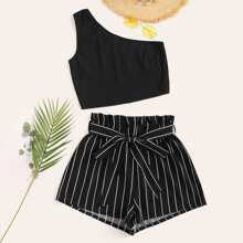 One Shoulder Top & Striped Paperbag Waist Shorts Set