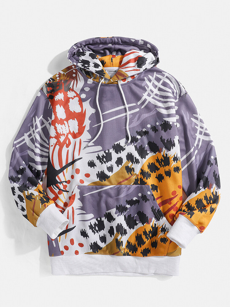 Mens Colored Animal Pattern Printed Pouch Pocket Drawstring Hoodies