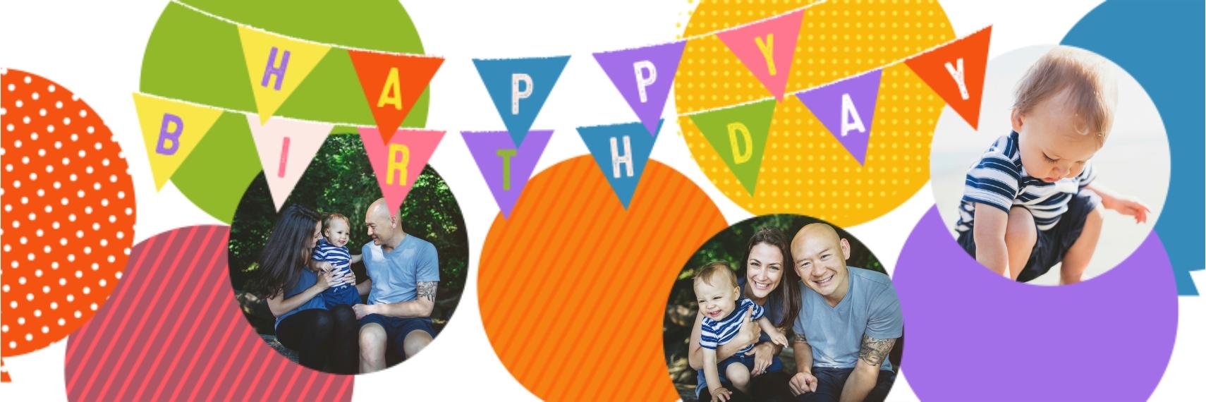 Birthday 1x3 Adhesive Banner, Home Décor -Balloon Banner