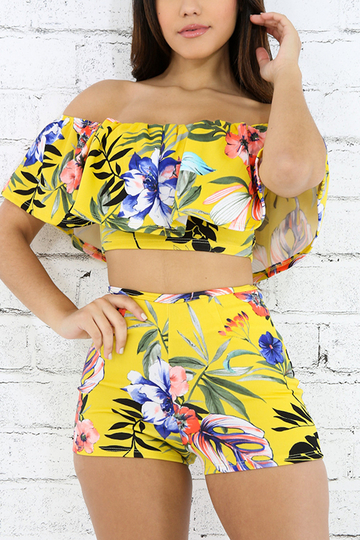 Yoins Yellow Bodycon Random Floral Print Two Piece Outfits