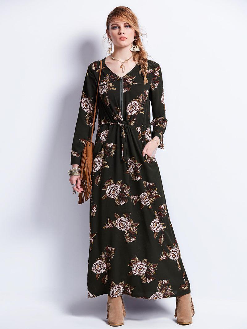 Ericdress V-Neck Zipper Print Maxi Dress