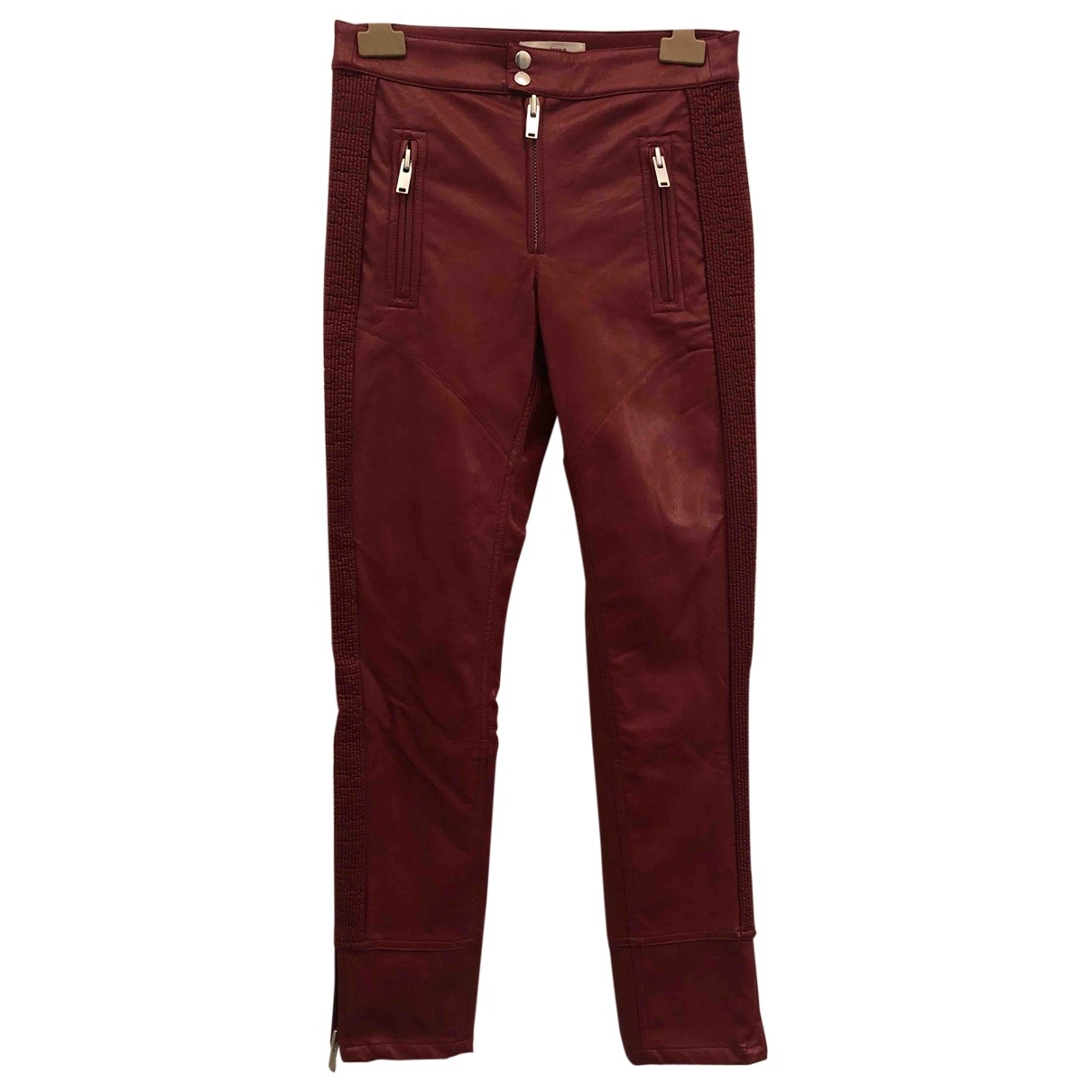 Isabel Marant Etoile \N Red Leather Trousers for Women 34 FR