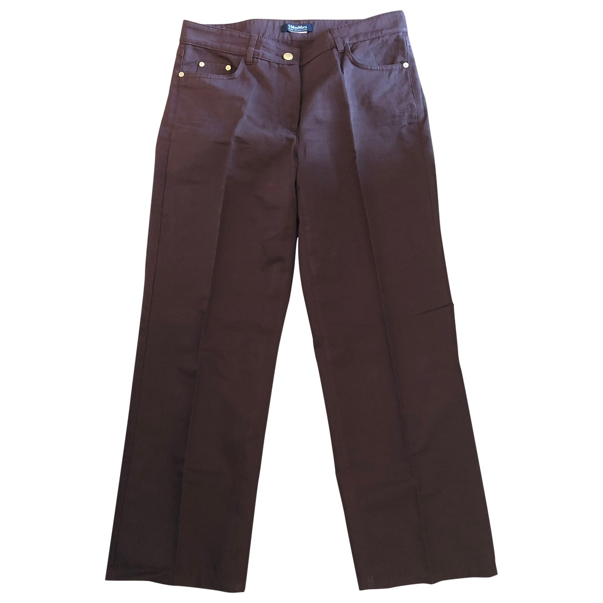 Max Mara Studio \N Burgundy Cotton Trousers for Women 42 IT