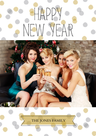 New Year's Photo Cards Mail-for-Me Premium 5x7 Flat Card, Card & Stationery -Happy New Year Confetti