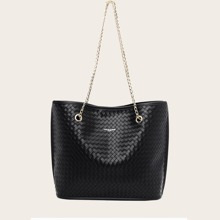 Large Capacity Woven Chain Tote Bag