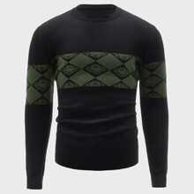 Men Geo Pattern Sweater