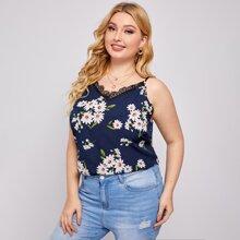 Cami Top mit Blumen Muster und Spitzen