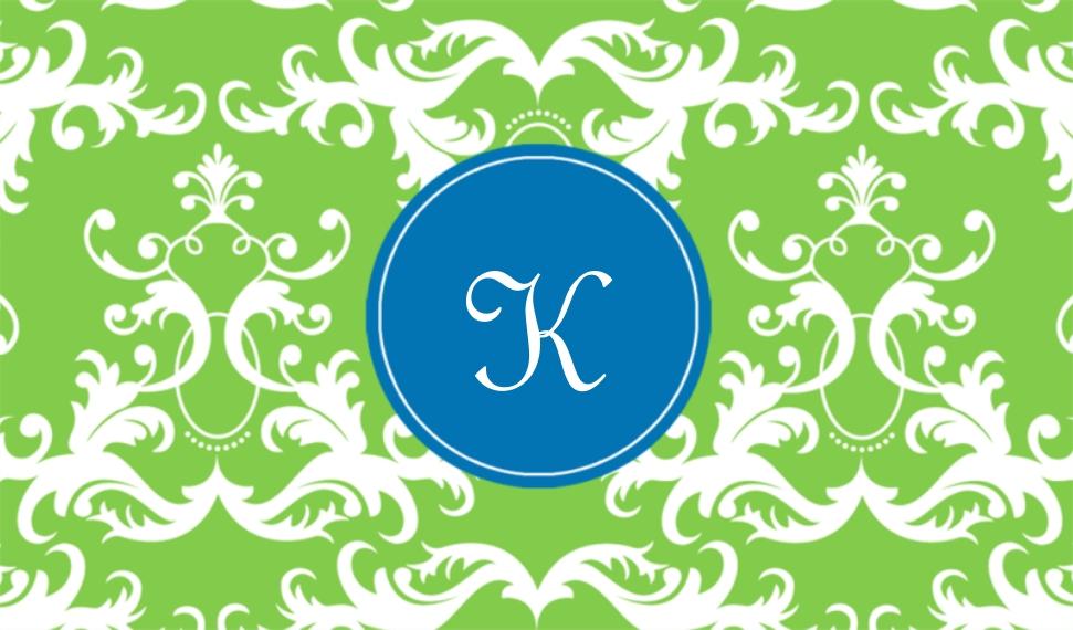 Monogram Business Cards, Set of 40, Rounded Corners, Card & Stationery -Elegant Pattern