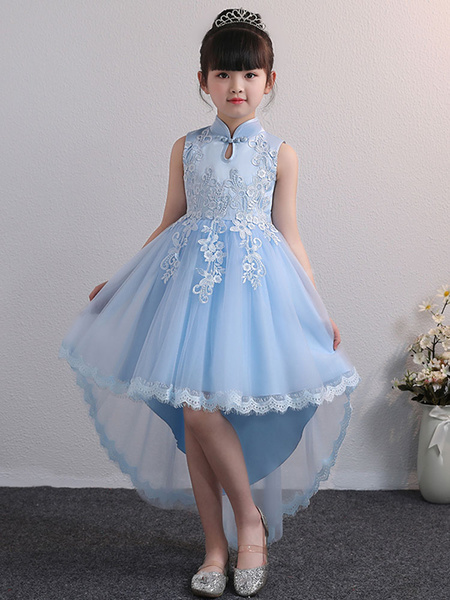 Milanoo Flower Girl Dresses Designed Neckline Tulle Sleeveless Knee Length High Low Princess Silhouette Embroidered Kids Party Dresses