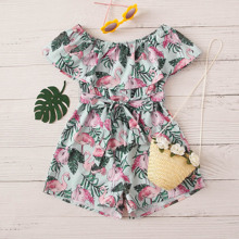 Girls Flounce Belted Flamingo & Jungle Leaf Romper