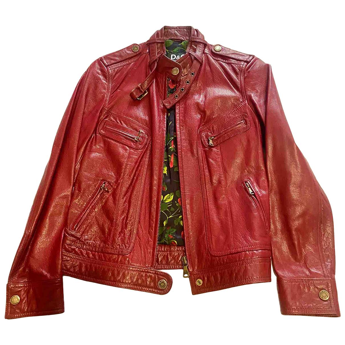 D&g - Blouson   pour femme en cuir - rouge