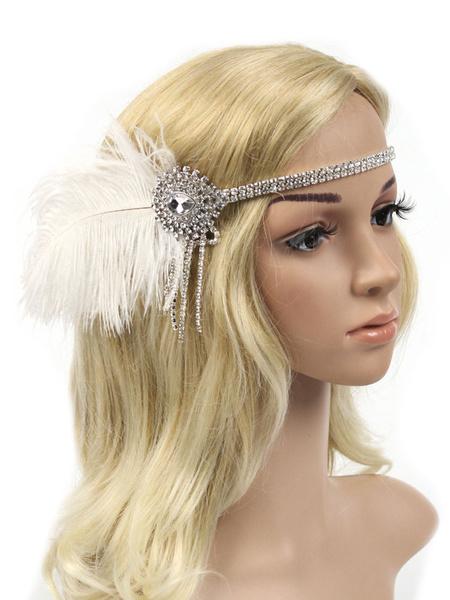 Milanoo 1920s Great Gatsby Feather Headpieces Flapper Headband Women Tassels Vintage Costume Accessories Halloween