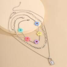 3pcs Lock Charm Necklace