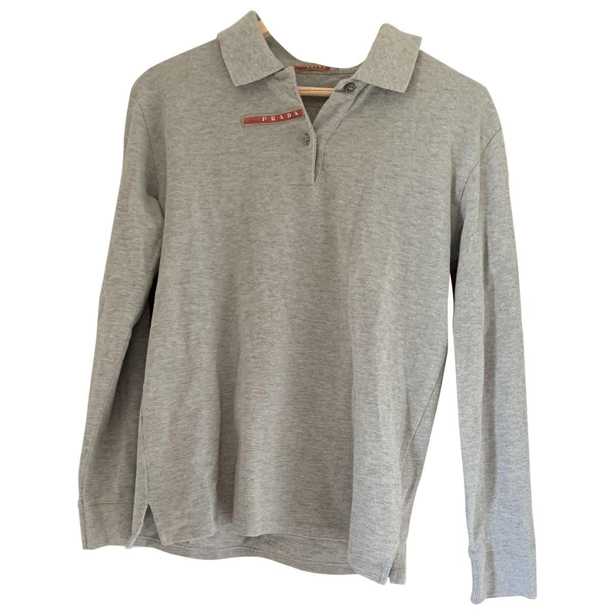 Prada - Polos   pour homme en coton - gris