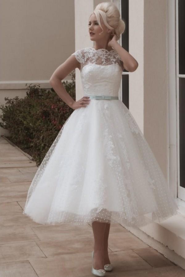 Cap sleeves Lace White Illusion neck Beach Short Wedding Dress