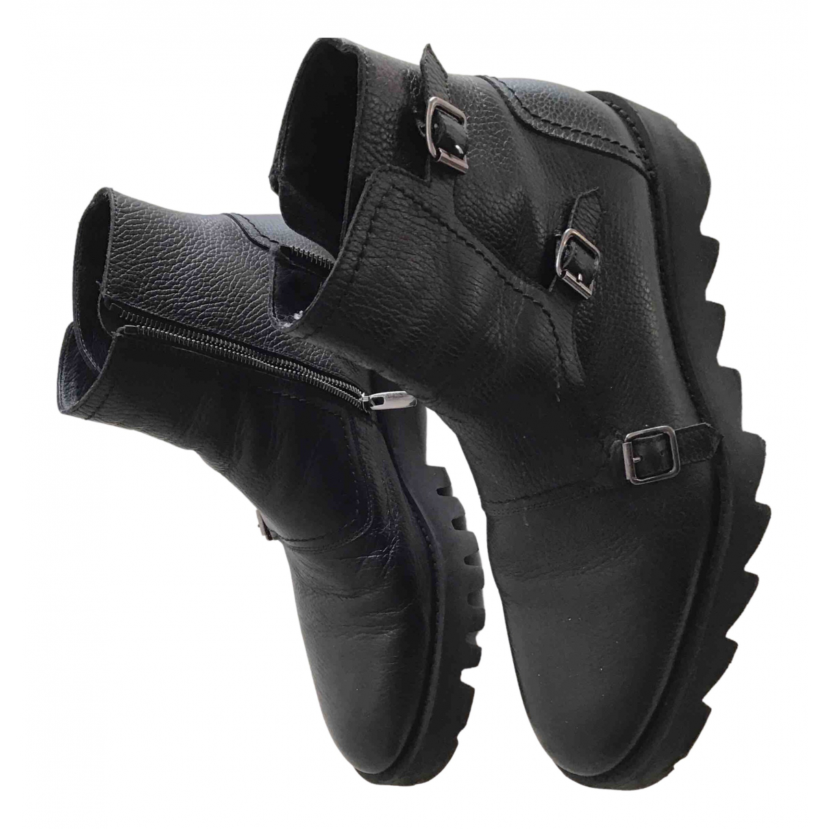 Non Signé / Unsigned \N Black Leather Boots for Men 43 EU
