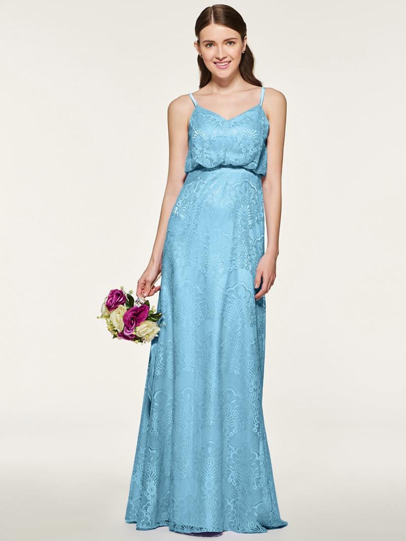 Ericdress Spaghetti Straps A Line Lace Bridesmaid Dress