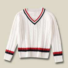 Girls Striped Trim Cricket Sweater
