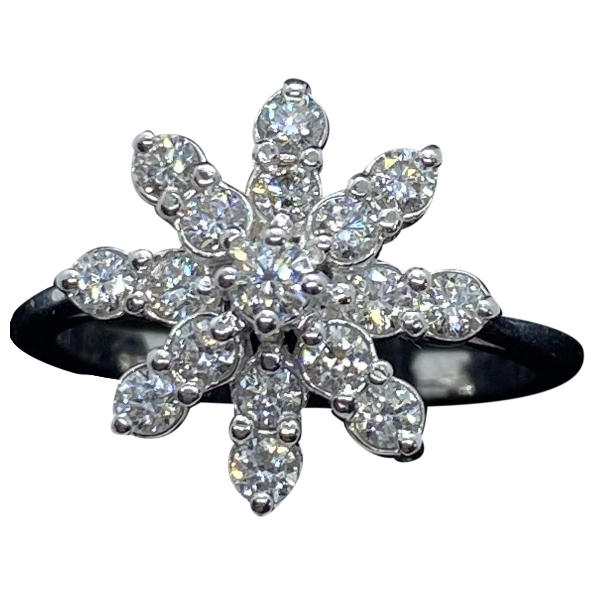 Non Signe / Unsigned Motifs Etoiles Ring in  Weiss Weissgold