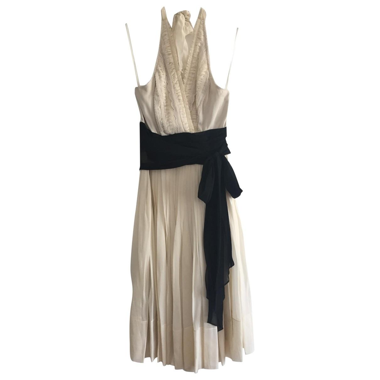 Bcbg Max Azria - Robe   pour femme en soie - ecru
