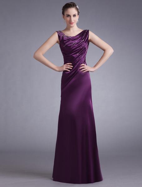 Milanoo Lavender Evening Dress Satin Sleeveless Beading Mother S Dress Ruched Floor Length Long Prom Dress