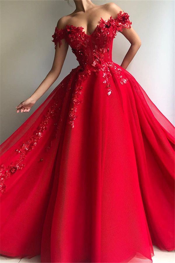 Robe de bal glamour au large de lepaule appliques robes de soiree de fleurs