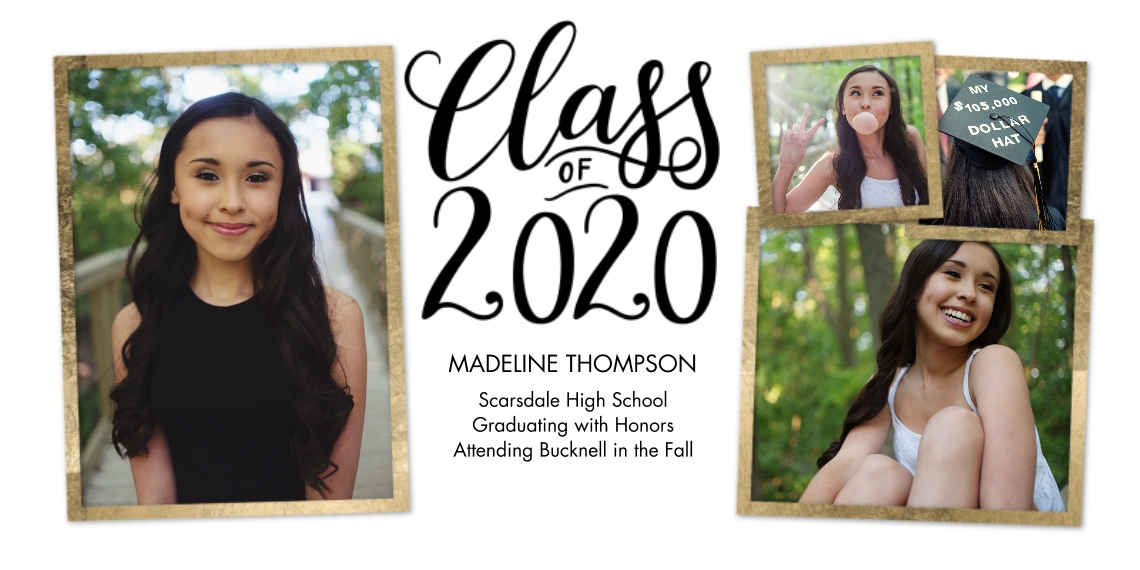 2020 Graduation Announcements 4x8 Flat Card Set, 85lb, Card & Stationery -2020 Gold Frames by Tumbalina