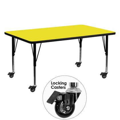 XU-A2460-REC-YEL-H-P-CAS-GG Mobile 24''W x 60''L Rectangular Activity Table with 1.25'' Thick High Pressure Yellow Laminate Top and Height Adjustable
