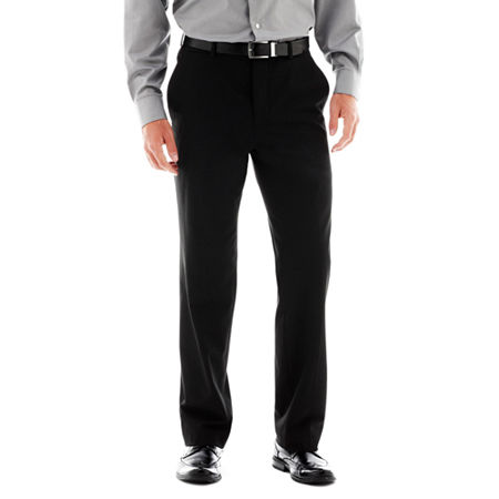 Men's JF J. Ferrar Stretch Gabardine Flat-Front Straight-Leg Classic Fit Suit Pants, 38 30, Black