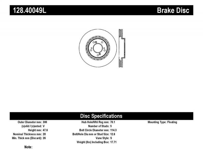 StopTech 128.40049L Sport Cryo Cross Drilled Brake Rotor; Front Right Acura RL Front Left 1999-2004