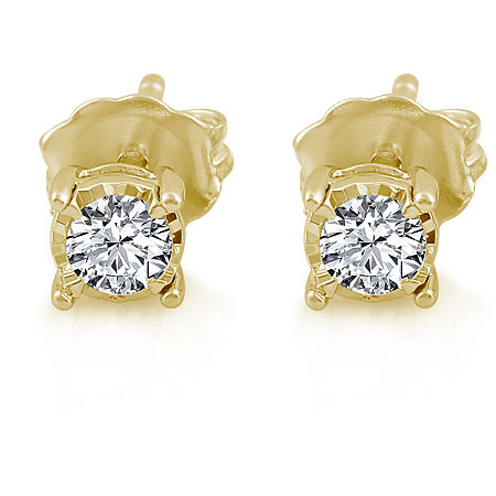 1/3 CT. T.W. Genuine White Diamond 14K Gold Over Silver 6mm Stud Earrings, One Size , No Color Family