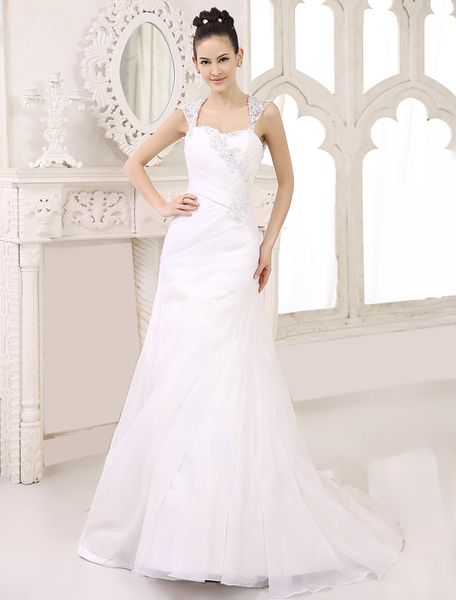 Milanoo Ivory A-line Sweetheart Neck Ruched Court Train Bridal Wedding Gown