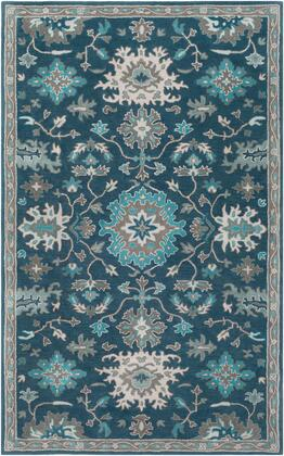 Caesar CAE-1218 5' x 8' Rectangle Traditional Rug in Navy  Teal  Charcoal  Sage  Light