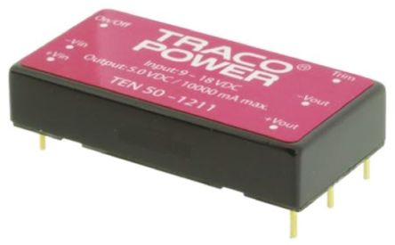 TRACOPOWER TEN 50 50W Isolated DC-DC Converter Through Hole, Voltage in 36 → 75 V dc, Voltage out 12V dc