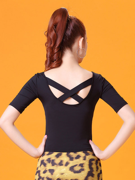 Milanoo Ballroom Dance Costume Women Top Black Criss Cross Short Sleeve Practice Dancing Clothes