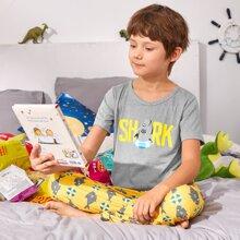 Boys Cartoon Shark Print PJ Set