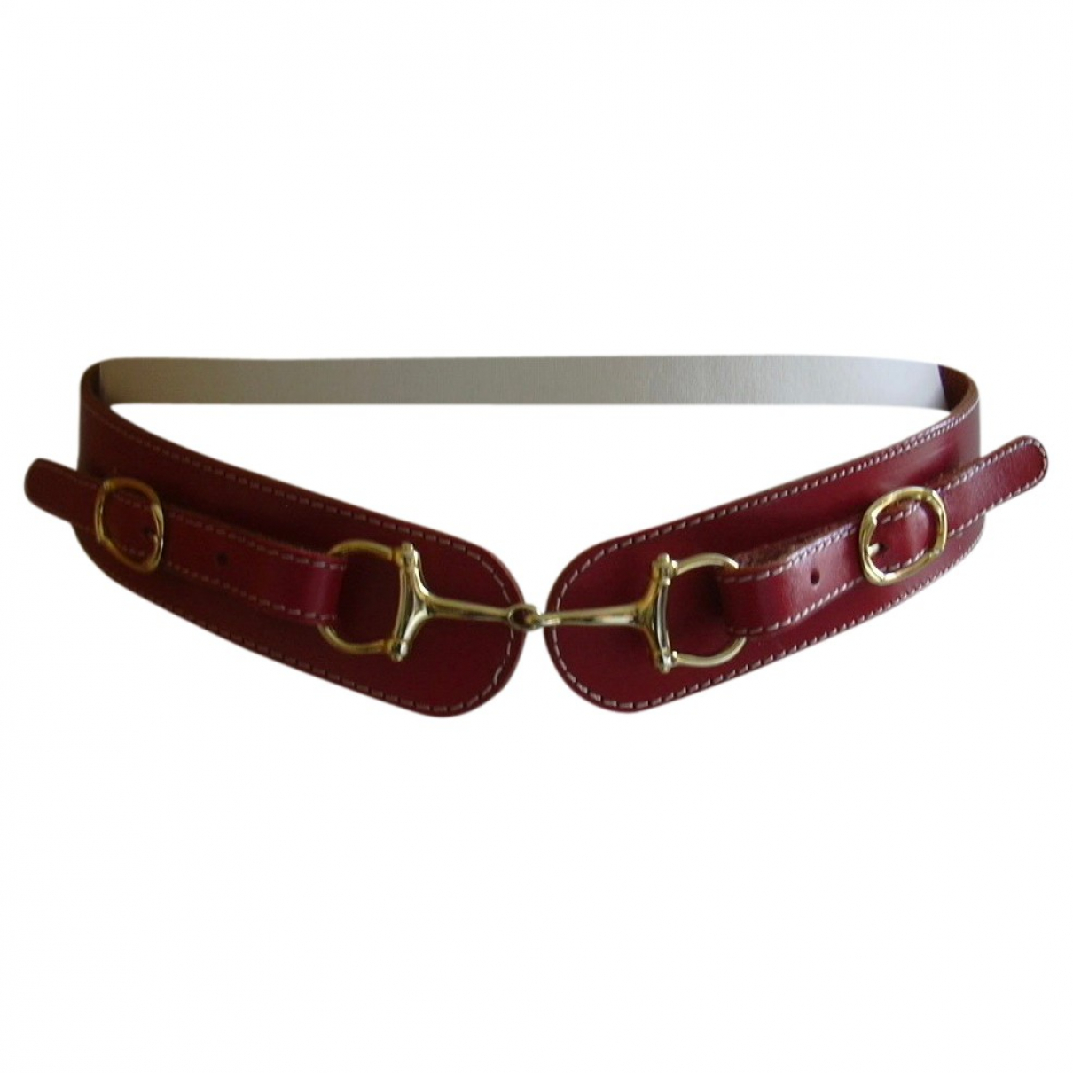 Non Signé / Unsigned \N Red Leather belt for Women 75 cm