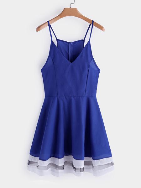 Yoins Blue V-neck Spaghetti Sleeveless Mini Dress