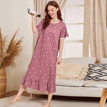 Nachtkleid mit Streifen & Herzen Muster und Rueschen