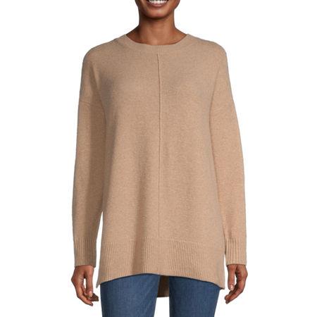 a.n.a Womens Crew Neck Long Sleeve Pullover Sweater, X-small , Beige