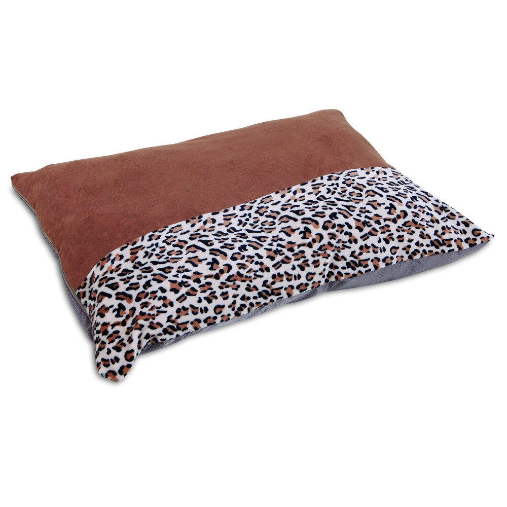 Aspen Pet Brown Polyester Animal Print Knife Edge Dog Pillow Bed (Extra Large)