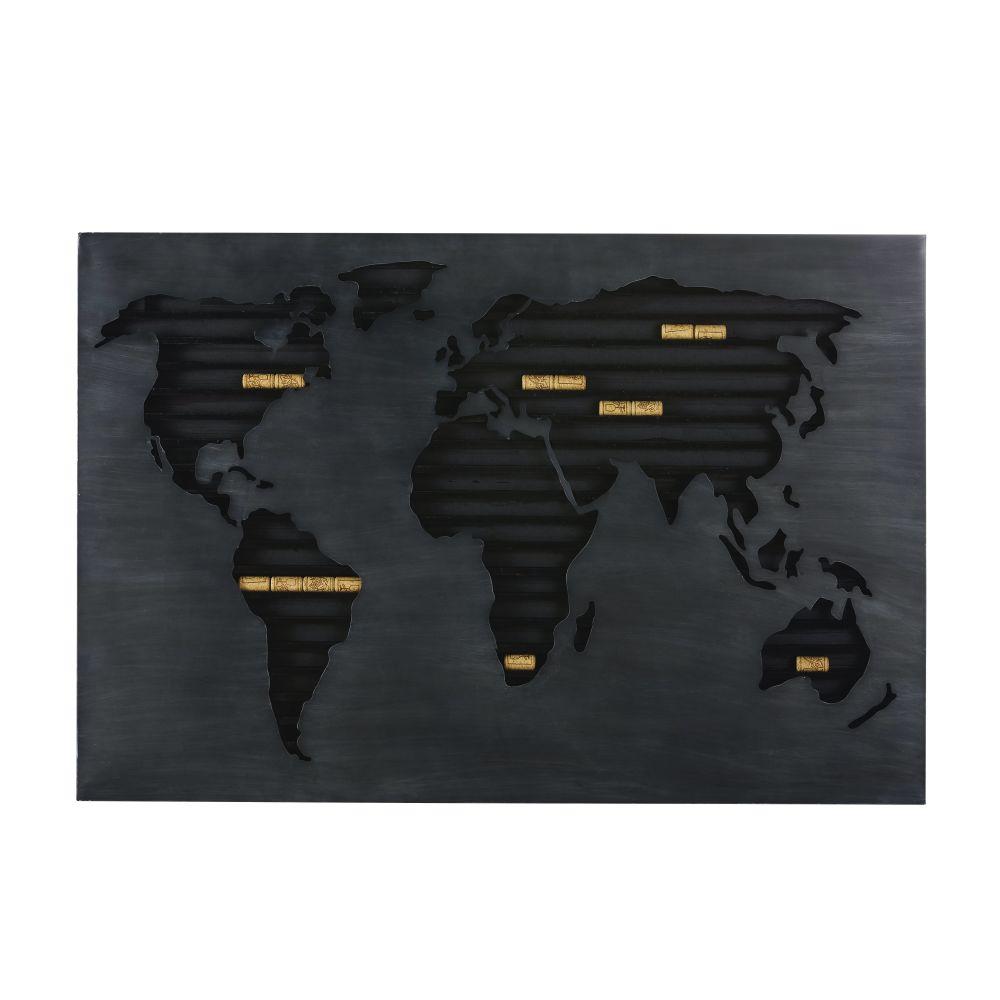 Wanddeko Weltkarte als Halterung fuer Korken aus Metall, schwarz