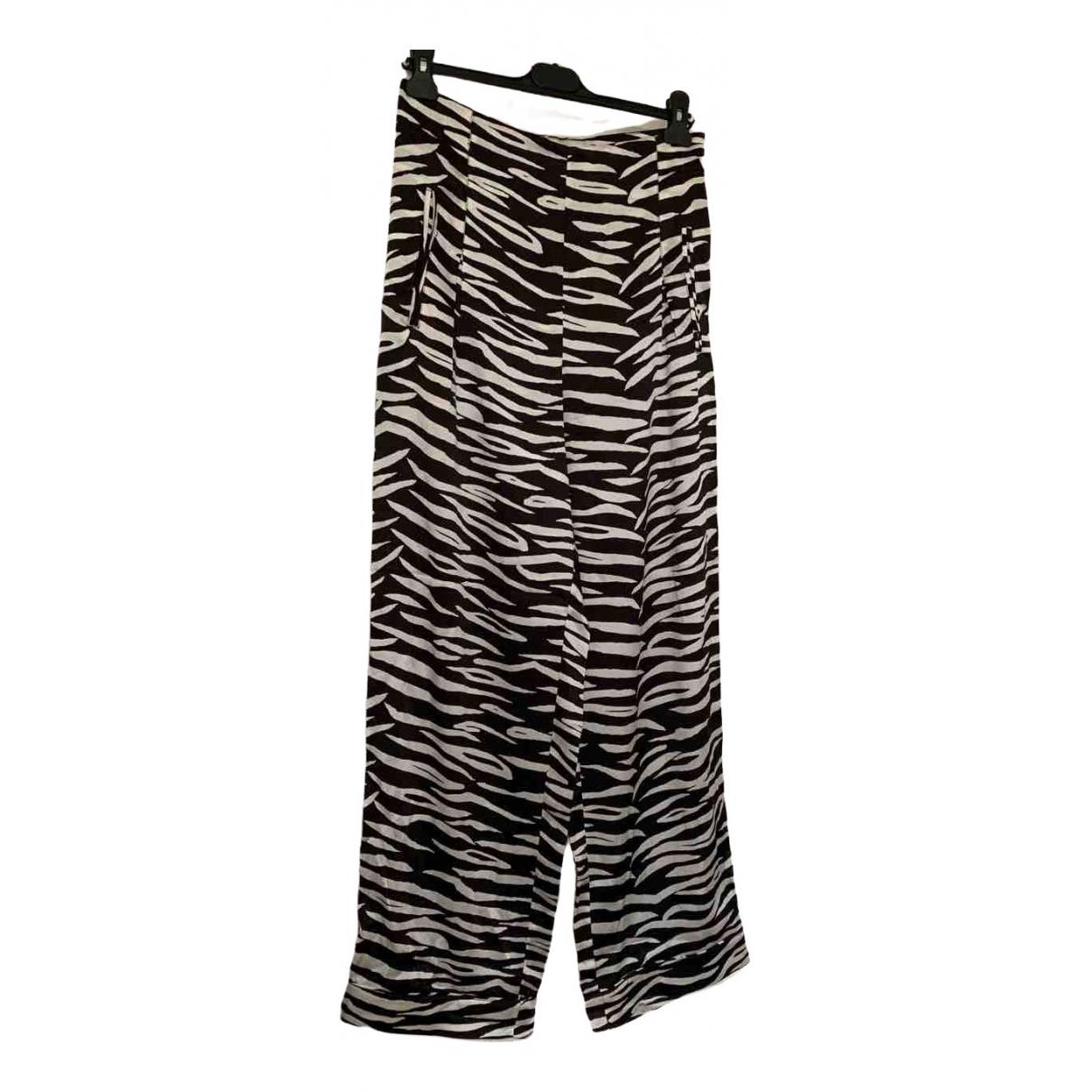 Ganni \N Multicolour Silk Trousers for Women 12 UK
