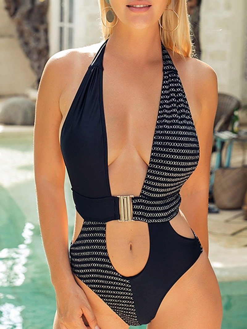 Ericdress One Piece Sexy Conjoined Stripe Swimwear